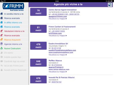 Frimm App per agenti immobiliari - Lista agenzie immobiliari