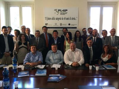 Accordo MLS REplat - Auxilia Finance: al centro da sinistra, il presidente nazionale FIAIP Paolo Righi, il presidente di Frimm Roberto Barbato e il general manager di Auxilia Samuele Lupidii